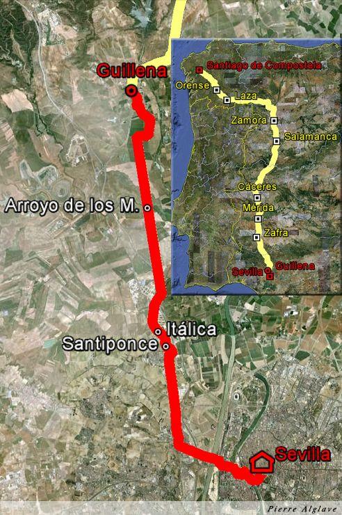 De Séville à Guillena : 23 km