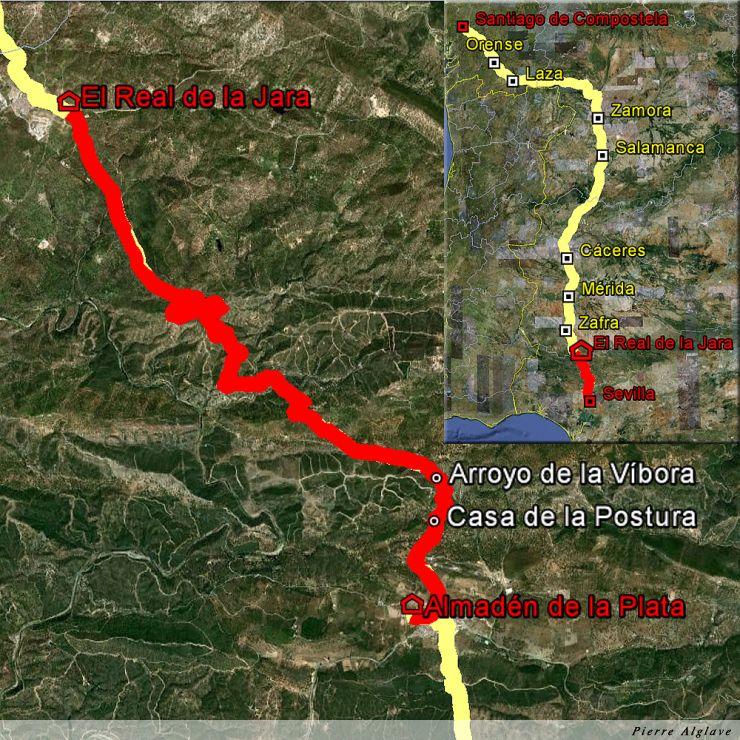 De Almaden de la Plata à El Real de la Jara : 17 km
