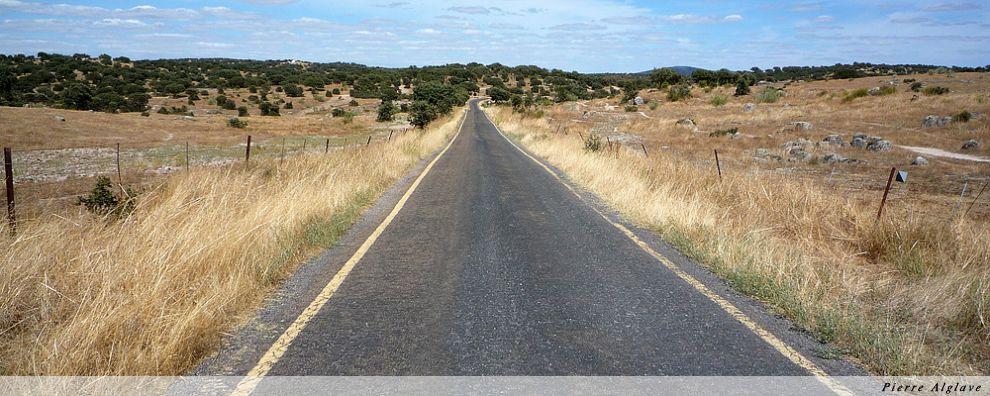 Le chemin sur une petite route déserte