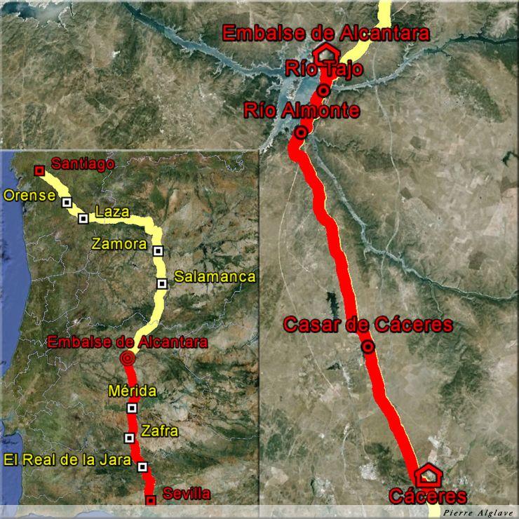 De Caceres à la embalse de Alcantara : 33 km