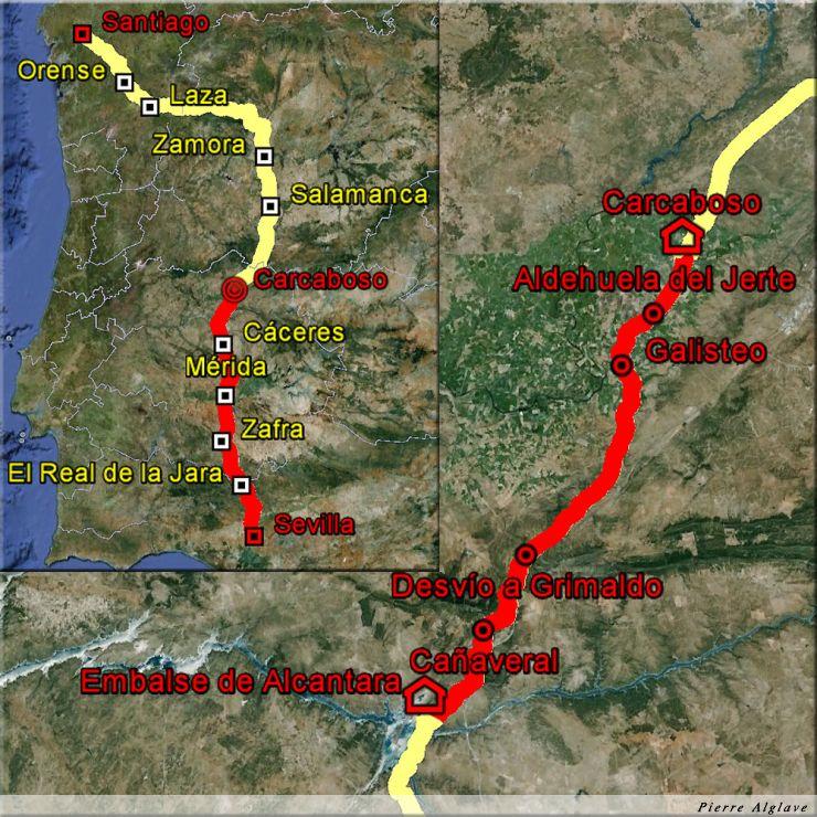De la embalse de Alcantar à Carcaboso : 51 km