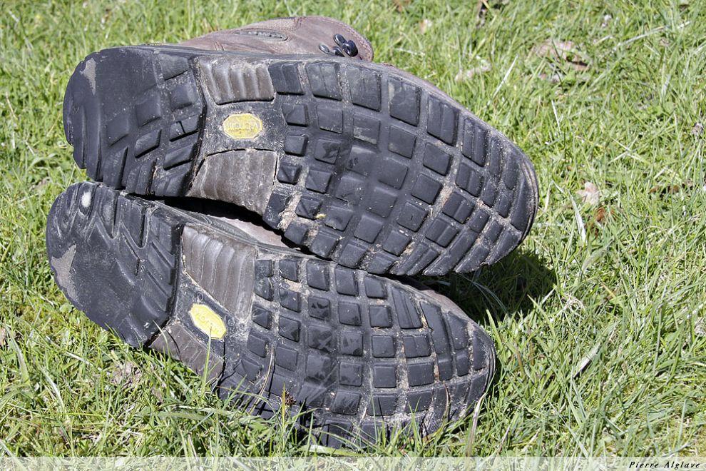 Semelles de mes chaussures après Compostelle en 2009